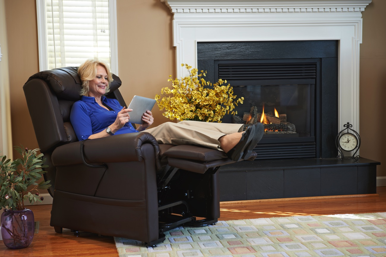 Woman Relaxer iPad by Fireplace